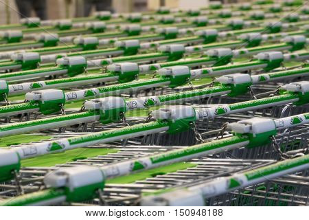 MOSCOW - SEPTEMBER 16 2015: Shopping trolleys in Leroy Merlin. This is a famous french houshold and gardening retailer.