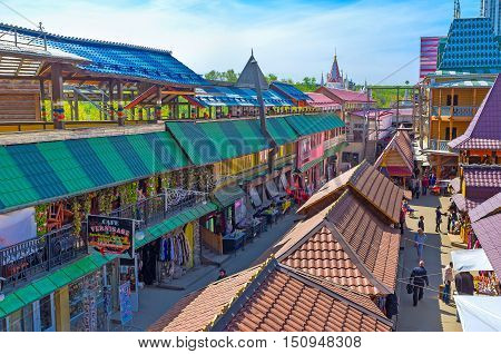 MOSCOW RUSSIA - MAY 10 2015: The Vernissage Market in Izmailovo is famous for wide range of traditional Russian handmade souvenirs and pieces of art on May 10 in Moscow.