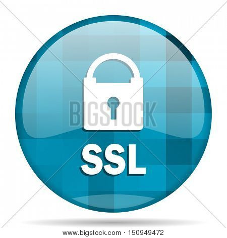 ssl blue round modern design internet icon on white background