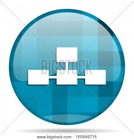 database blue round modern design internet icon on white background