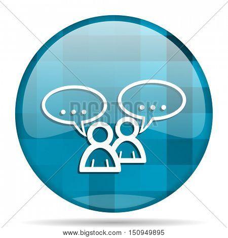 forum blue round modern design internet icon on white background