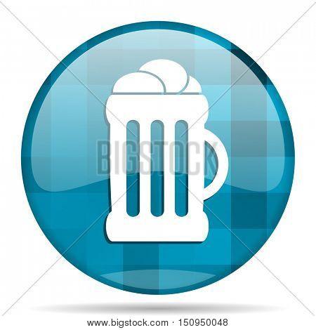 beer blue round modern design internet icon on white background