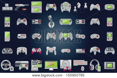 Video game icons set. Flat style vector illustration. Collection of gaming devices on pixel background.