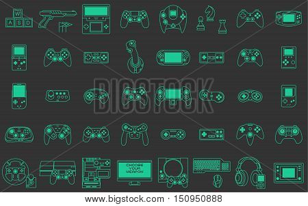 Video game icons set. Flat thin line style vector illustration. Collection of gaming devices