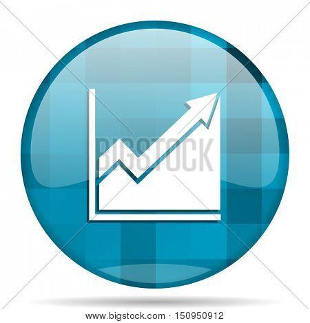 histogram blue round modern design internet icon on white background