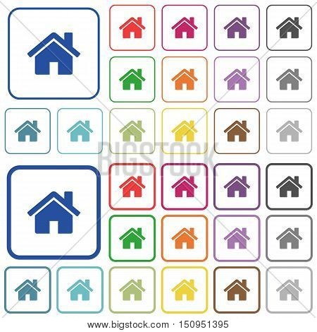 Set of home flat rounded square framed color icons on white background. Thin and thick versions included.