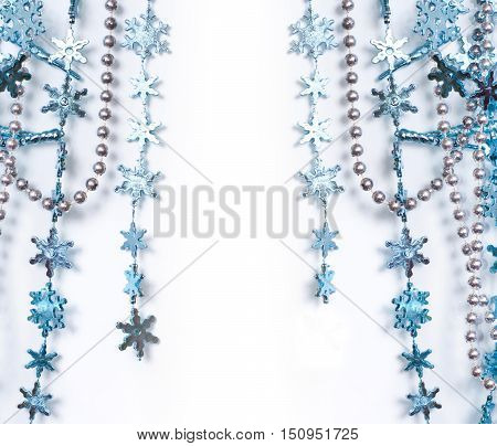 Christmas blue and silver decoration on white background space for your text. Christmas card