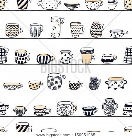 Cute naive cups on the shelves seamless vector pattern. Pastel and dark blue colors. Kids style drawing.
