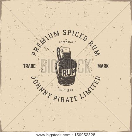 Vintage handcrafted pirate rum emblem, alcohol label, logo. Isolated on a scratched paper background. Sketching filled style. Pirate and sea symbols - old rum bottle. Good for tavern, cafe. Vector illustration