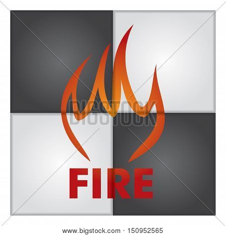 Fire sign on abstract background. Illustration for your presentation template.