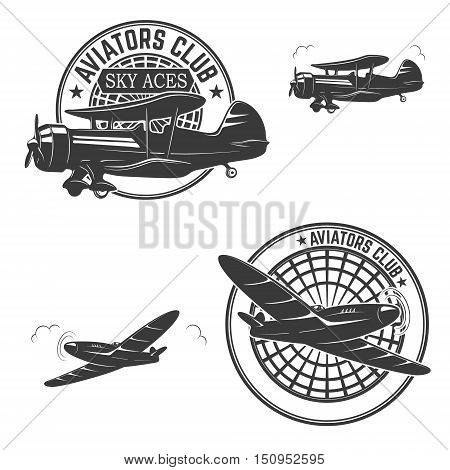 Set of aviators club labels. Retro planes. Design elements for logo label emblem sign brand mark. Vector illustration.