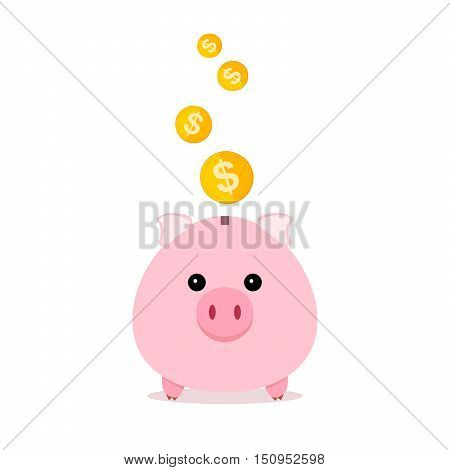 Pig and gold coins isolated on white background. Piggy bank with falling coins in flat design. Gold dollar coin - vector illustration.