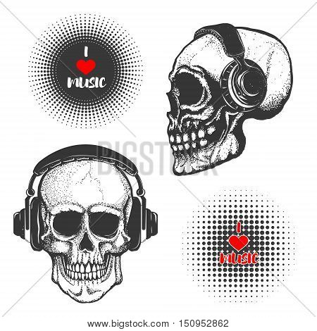 Set of the hand drawn skulls in headphones isolated on white background. I love music. Vector illustration.