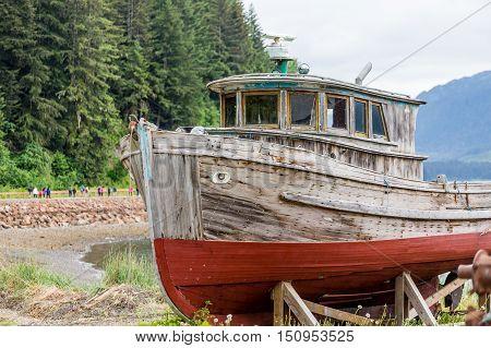 Old Wooden Boat on Alaskan Dry Dock