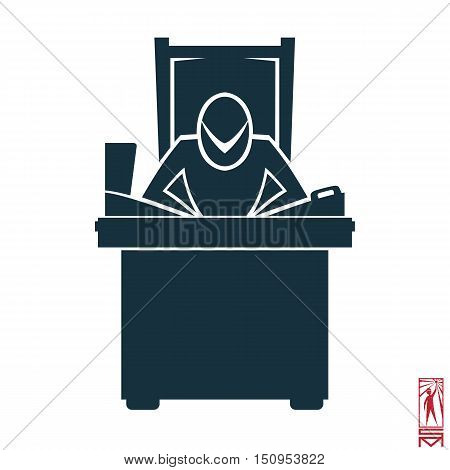 Man Person Basic body position Stick Figure Icon silhouette vector sign,businessman,, symbol of power, thought, creative, head, brain center, laptop, telephone selector, table, chair, throne, workplace, boss, the head of the organization