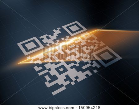 Scan QR code with the laser strip. 3d illustration