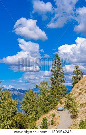 Fantastic sky and clouds at Mountain Trail Park. Okanagan Lake. Canada.