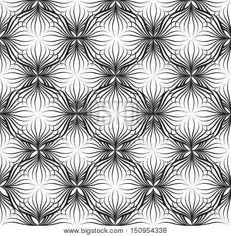 Abstact Vector Seamless Black-and-white Geometric Pattern Floral  Geometric Line Texture