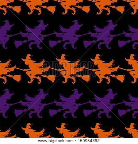 Halloween seamless pattern with witch on a broomstick on black background. Vector illustration