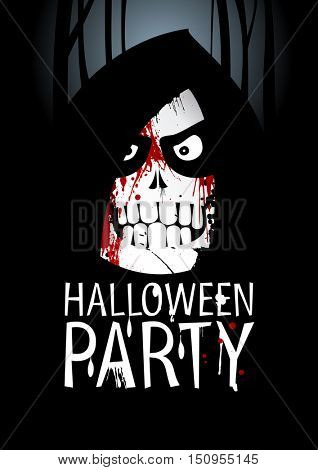 Halloween party design with death ghost and place for text, rasterized version