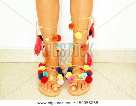 greek leather bohemian sandals with pom pom