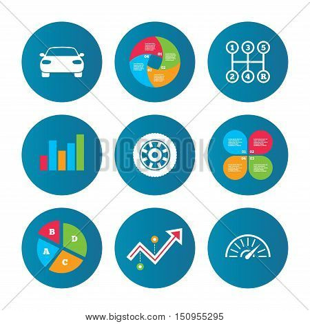 Business pie chart. Growth curve. Presentation buttons. Transport icons. Car tachometer and mechanic transmission symbols. Wheel sign. Data analysis. Vector