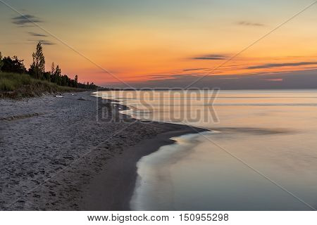 Lake Huron Beach After Sunset - Ontario, Canada