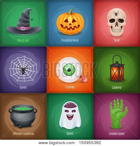 Happy Halloween square banners with popular symbols. Vector illustration.