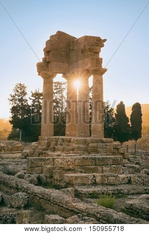 Park of the Valley of the Temple of Agrigento in Sicily island, Italy