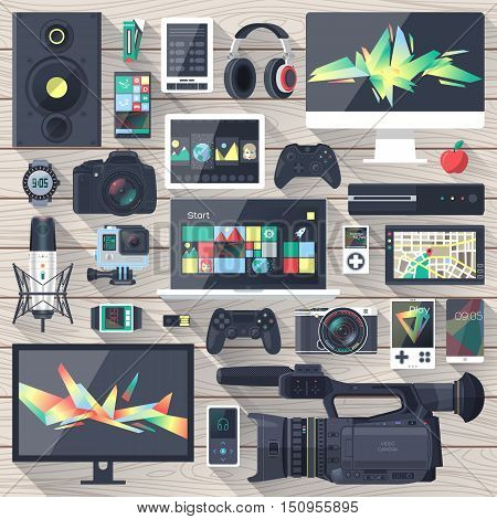 Set of flat design gadgets electronic devices mobile phone communications. Design items for business website design app promotional materials web and mobile phone services.