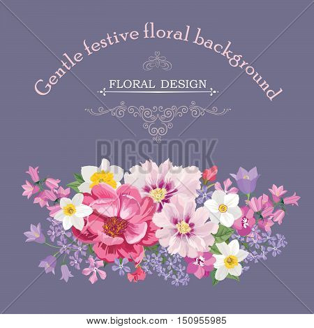 Floral frame with summer flowers. Floral bouquet with rose narcissus carnation lilac and wildflower. Vintage Greeting Card with flowers. Watercolor flourish border. Floral background.
