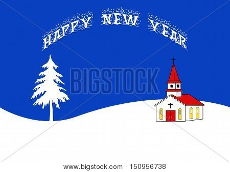 Happy New Year Greeting with a tree and church.