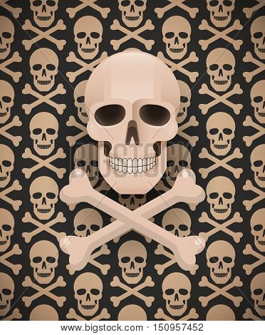 Huge skull on seamless dark pattern. Vector swatches included.