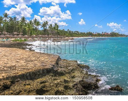 South coastal landscape of Dominican Republic in Bayahibe beach near La Romana. Bayahibe is famous for its all-inclusive resort. Summer vacation concept.