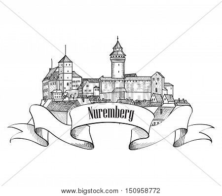 Nurnberg castle. Old City architectural symbol. Travel Germany engraving label.