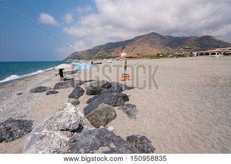 Rocky coast of Tyrrhenian sea in Campora San Giovani in Calabria Italy