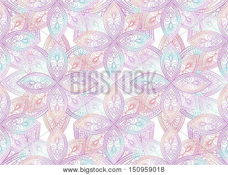 Floral seamless pattern. Geometric oriental ornament. Flower outline mandala motive background.