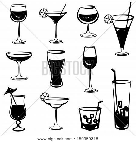 Cocktail silhouettes vector Cocktail drink glass set.