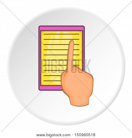 E-book and hand icon. Cartoon illustration of e-book and hand vector icon for web