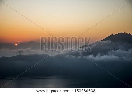 Bali Lake Batur volcano view sunset over Gunung Agung 2