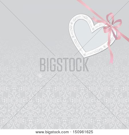 Valentine's Day Abstract Background With Cut Paper Heart. Can Be Used As Greeting Card Or Wedding  I