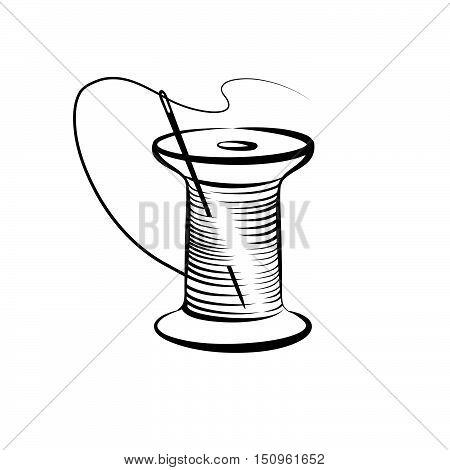 Needle and thread symbol. Needlework icon. Fancywork label.