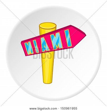 Signpost Miami icon. Cartoon illustration of signpost Miami vector icon for web