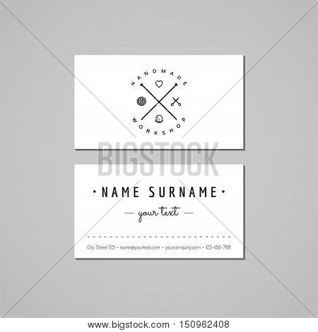 Handmade workshop business card design concept. Logo with yarn ball knitting needles scissors heart and thimble. Vintage hipster and retro style. Black and white.