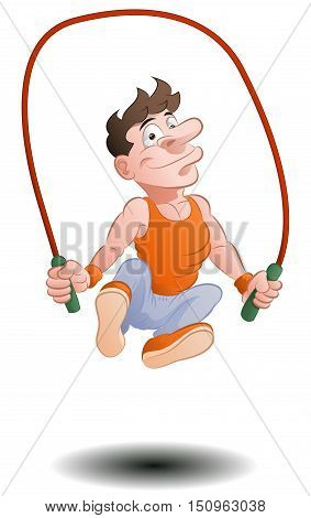 illustration of a man doing jumping rope skipping on isolated white background