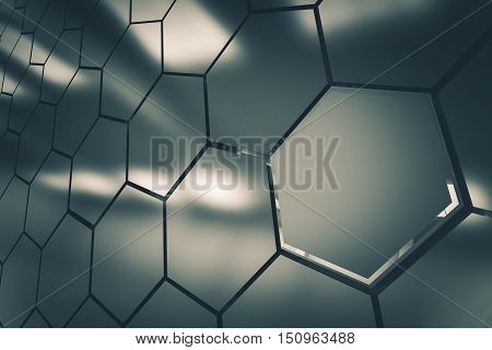 Metallic Clusters Background 3D Render Illustration. Modular Clusters Backdrop.