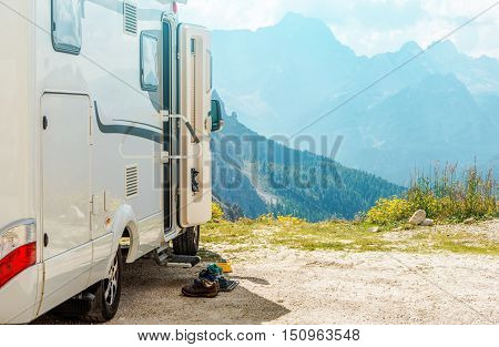 Motorhome RV Mountains Trip. Camper Camping and the Scenic Mountain View.