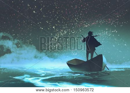 man rowing a boat in the sea under beautiful sky with stars, illustration painting