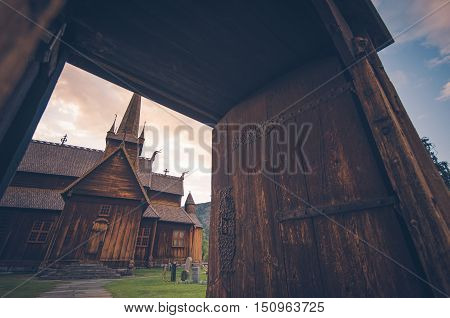 Norwegian Ancient Architecture. Stave Church Situated in the Lom Norway Europe.