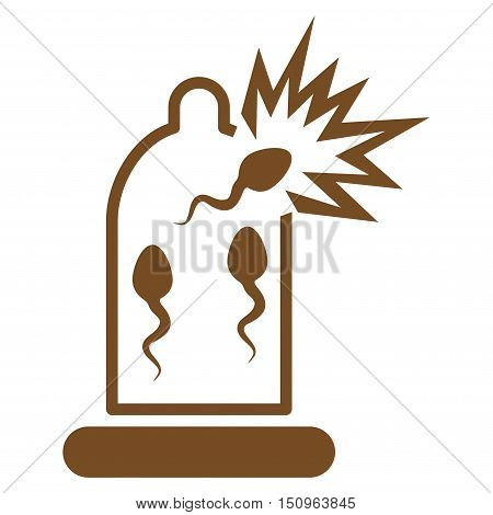 Damaged Condom With Sperm vector icon. Style is flat symbol, brown color, rounded angles, white background.